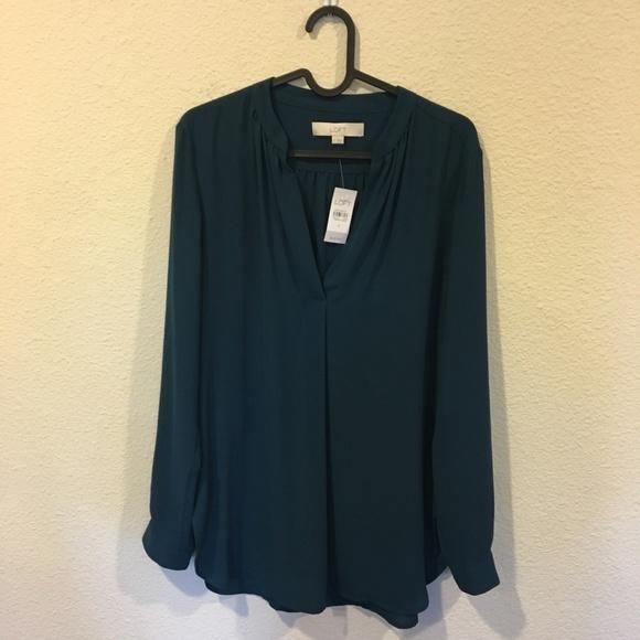 LOFT Tops - NWT LOFT teal long sleeve blouse